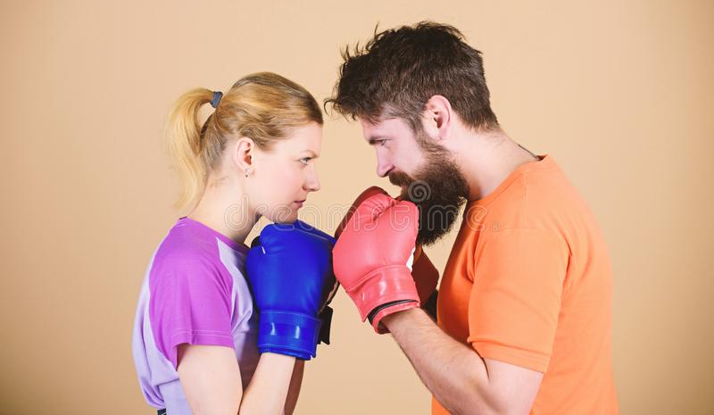 Some call them opponents, I call them victims. woman and bearded man workout in gym. train with coach. sportswear. Fight royalty free stock images