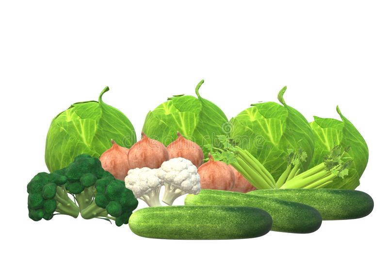 Some Celery, cauliflowers, cabbages, onions, broccoli and cucumbers. A computer generated illustration image of some Celery, cauliflowers, cabbages, onions vector illustration