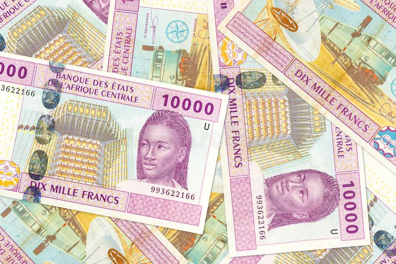 Some 10000 central african CFA franc bank note obverse. Specimen royalty free stock photo
