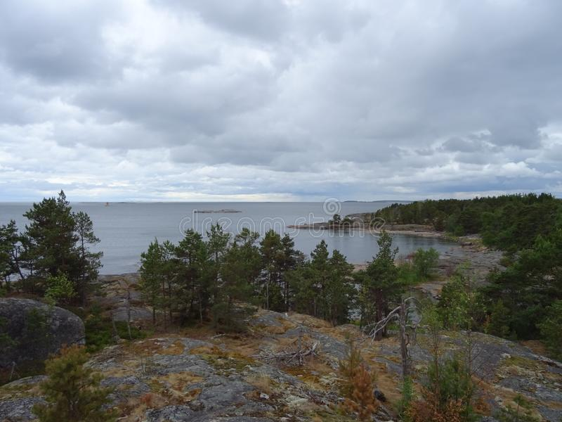 A nice view in archipelago in the gulf of Finland stock photo