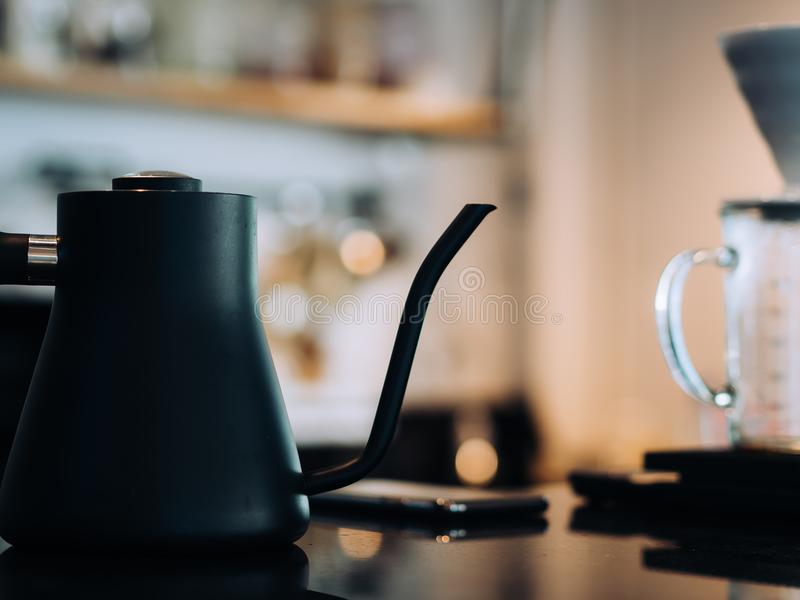 Coffee brewing equipments for a coffee shop. stock photo