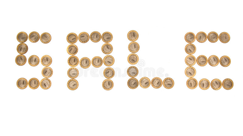 Download Some coins as word 'sale' stock image. Image of business - 4580351