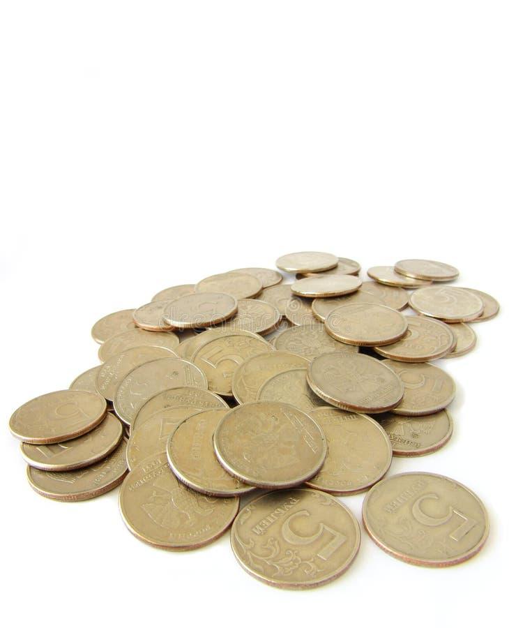 Some coins on white stock photos