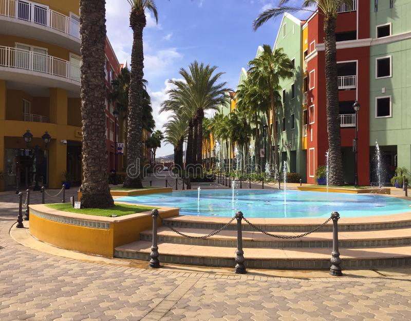 Hotel Fountain in the Dutch caribbean colorful houses royalty free stock photo