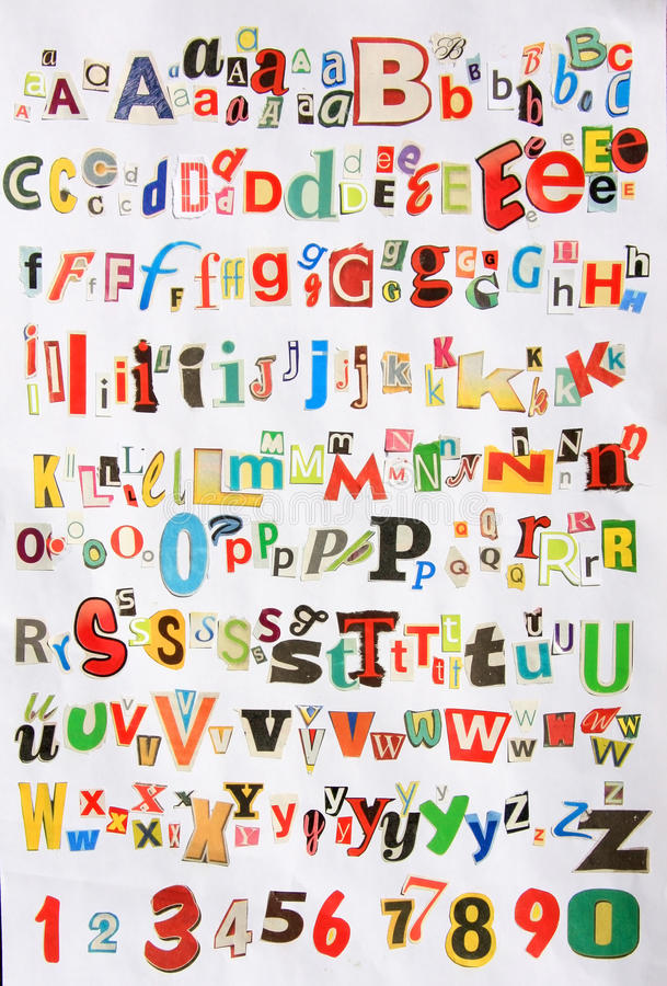 Download Some Colorful Newspaper Alphabet Stock Image - Image: 23870281