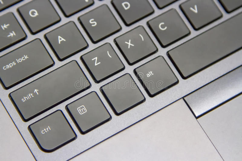 Some of the computer keys are gray-black. stock photo