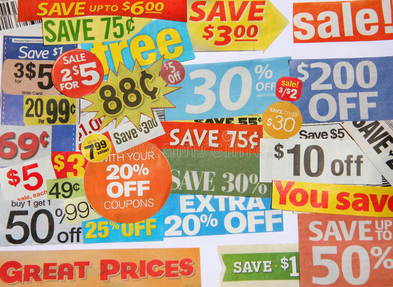 Download Some coupon offers stock photo. Image of object, cheap - 25264048