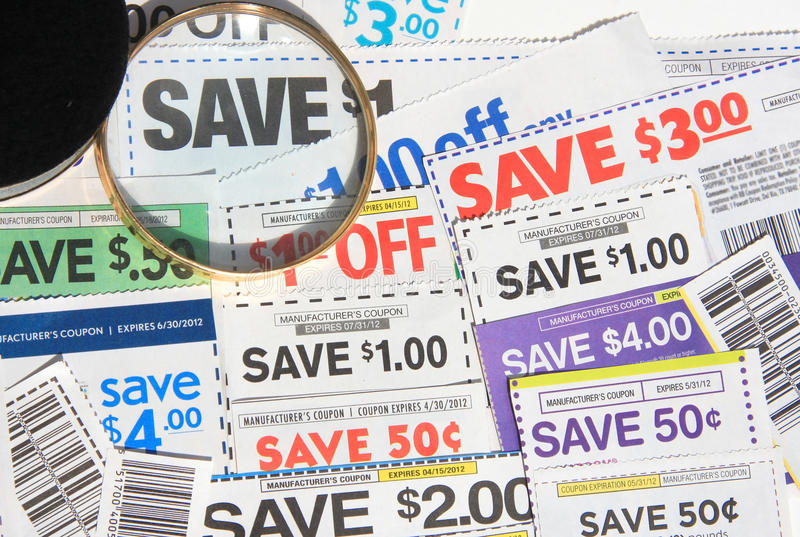 Some coupons. Saving coupons for shopping soon stock photo