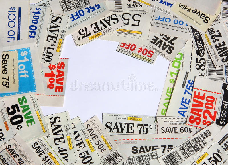 Some coupons on white. Saving coupons on white for shopping royalty free stock photos