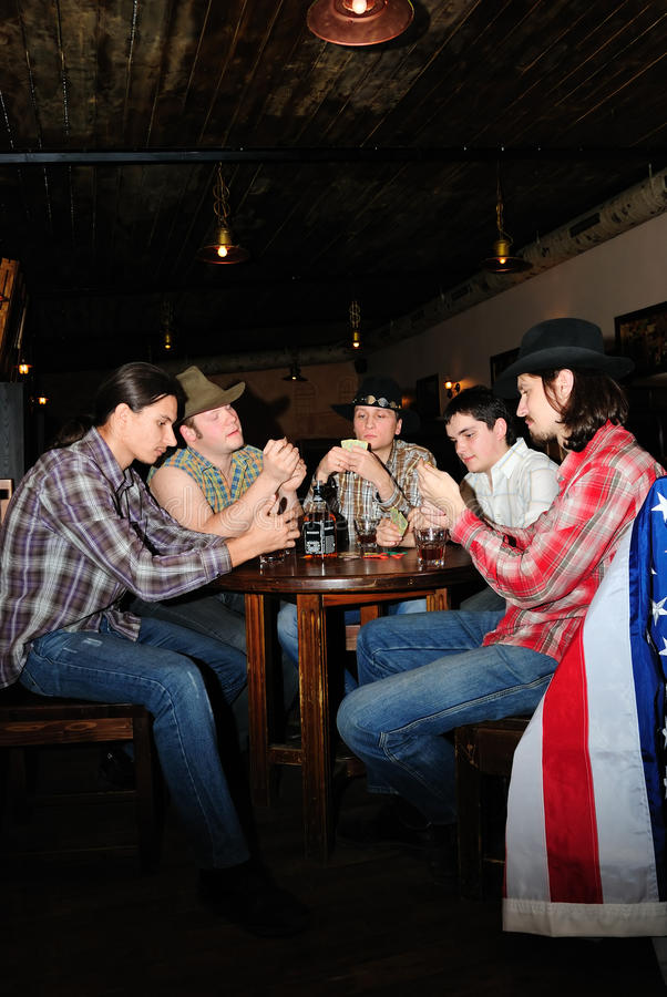 Download Some cowboys play cards stock image. Image of cards, alcoholism - 9754187