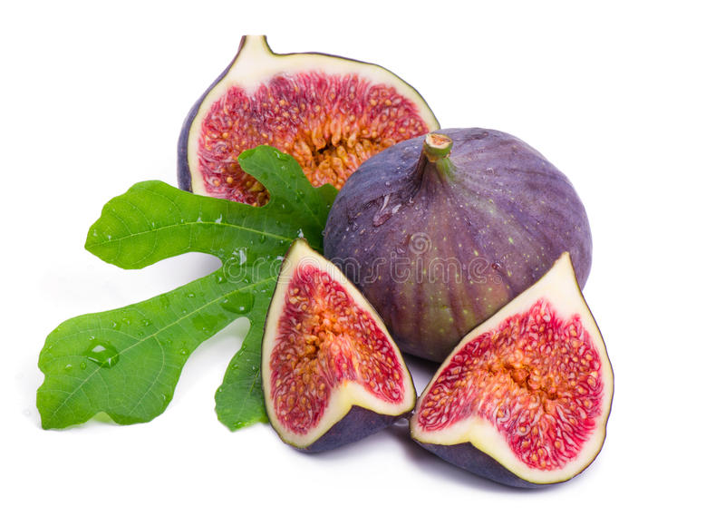 Some cut parts of fig with juicy pulp royalty free stock photography