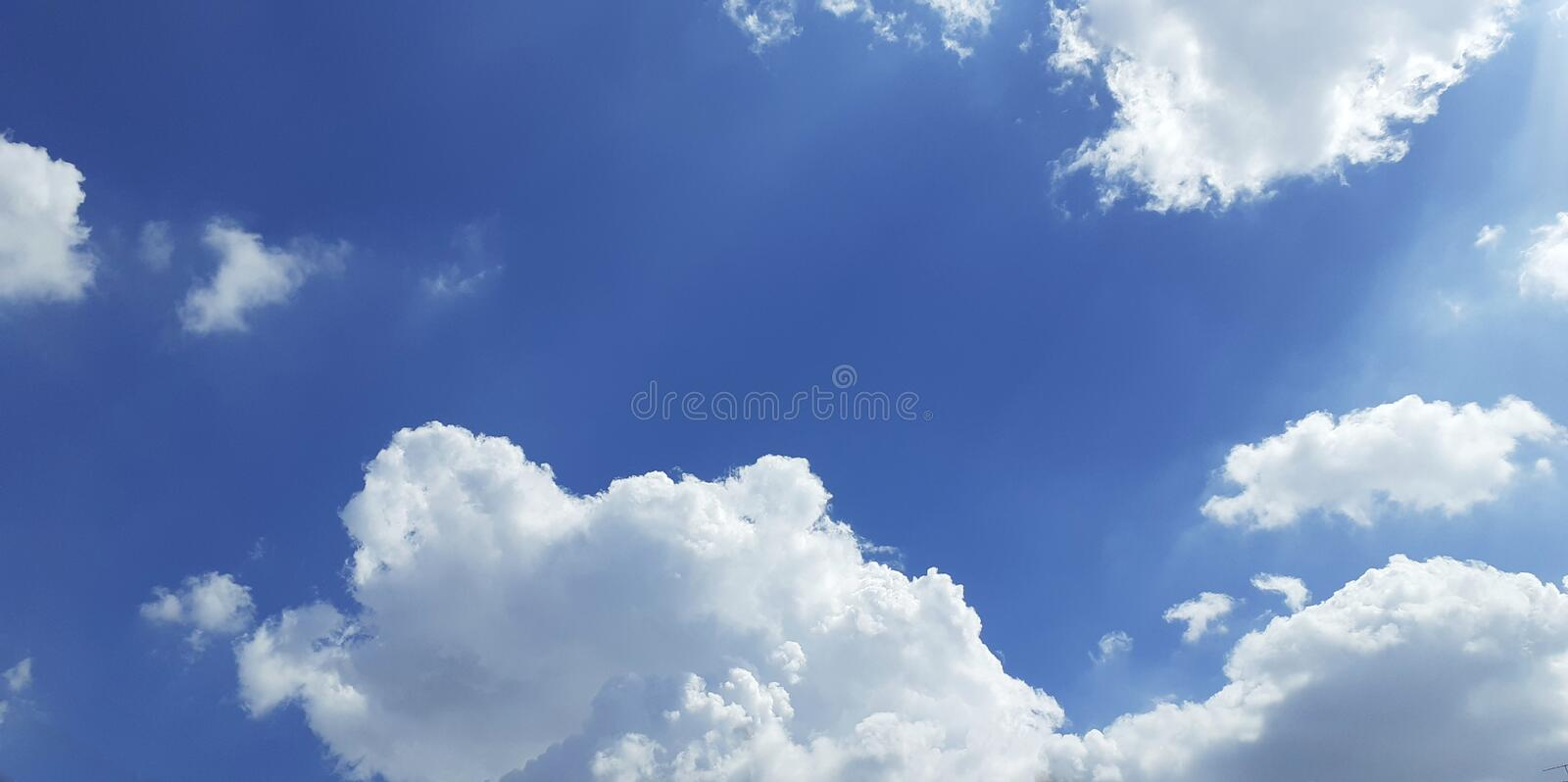 The sky is beautiful because there are clouds. On some days when the sun is very hot The sky became more beautiful as well royalty free stock photography