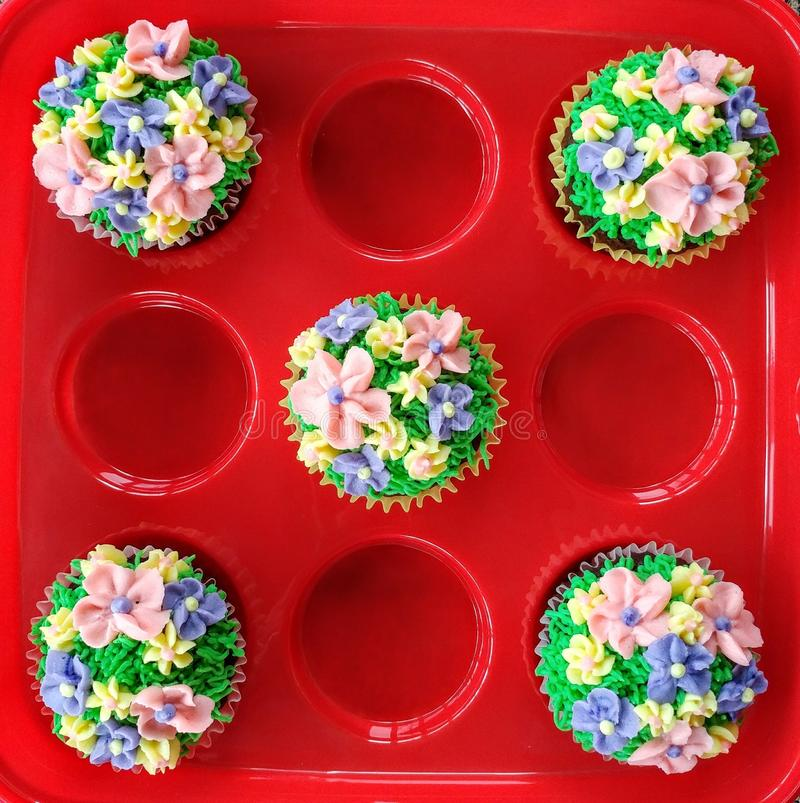 Decorated Cupcakes - Spring Floral stock image