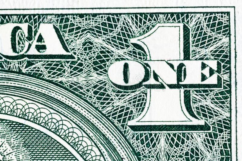 Some detail of one dollar bill in macro. royalty free stock photos