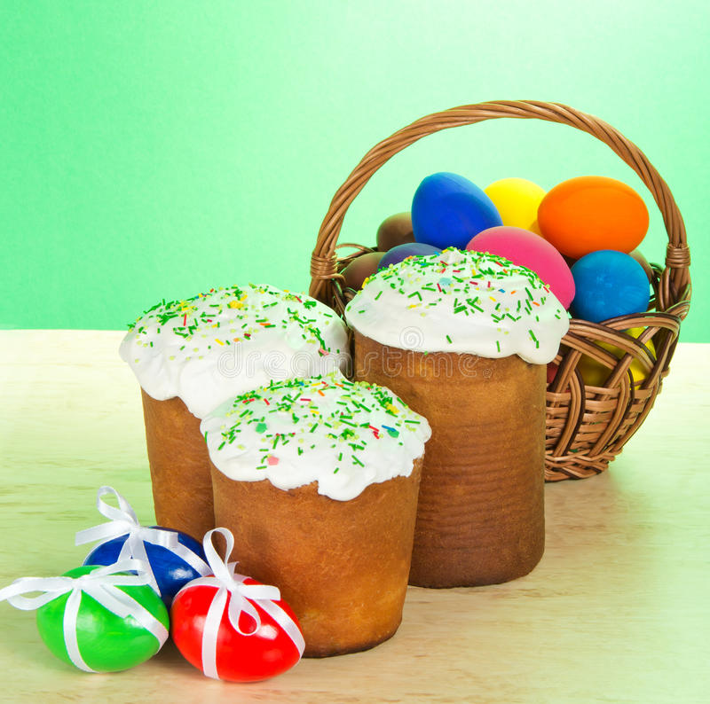 Some Easter cakes and eggs with bow royalty free stock photography