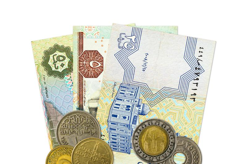 Some egyptian pound bank notes and coins stock photography
