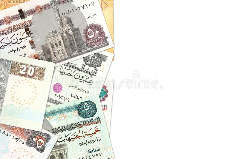 Some egyptian pound bank notes with copy space royalty free stock photography