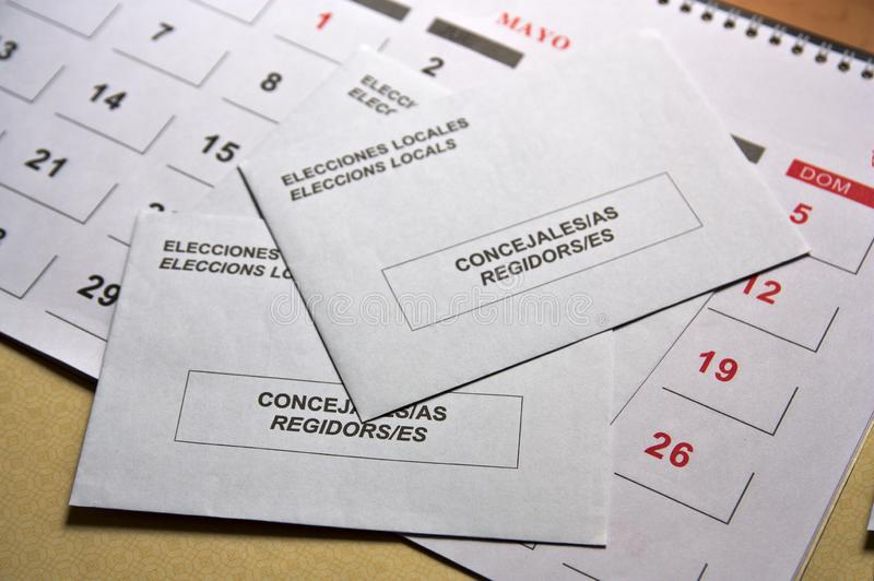 Some envelopes to carry out the vote for the elections to the Spanish mayoralties royalty free stock photography