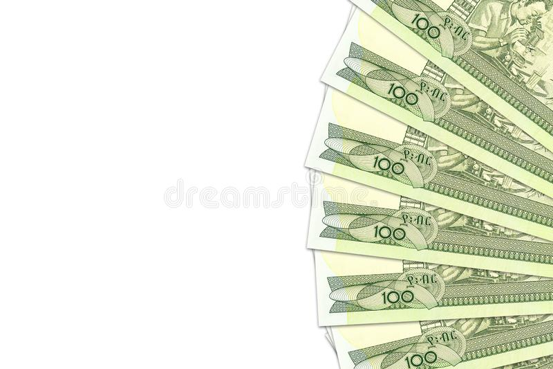 Some 100 ethiopian birr banknotes with copyspace illustrating growing economy and investment. S stock photo