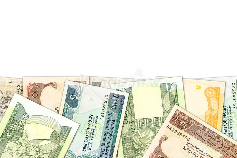 Some ethiopian birr banknotes with copyspace illustrating growing economy and investment. S stock image