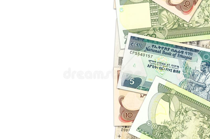 Some ethiopian birr banknotes with copyspace illustrating growing economy and investment. S stock images