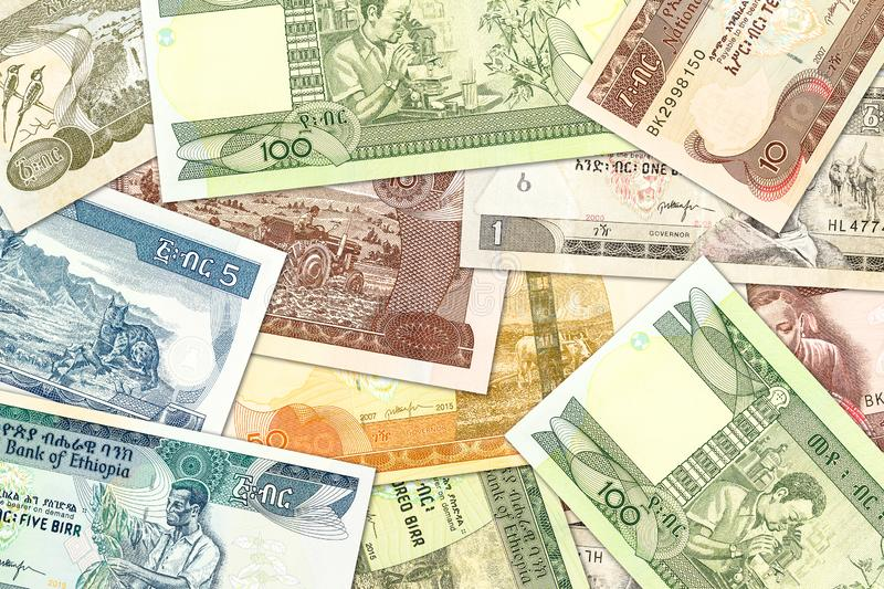 Some ethiopian birr banknotes illustrating growing economy and investment. S stock photo