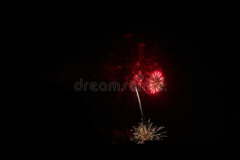 Some fireworks on a black background. They show the appearance of particles used for graphical resources stock image