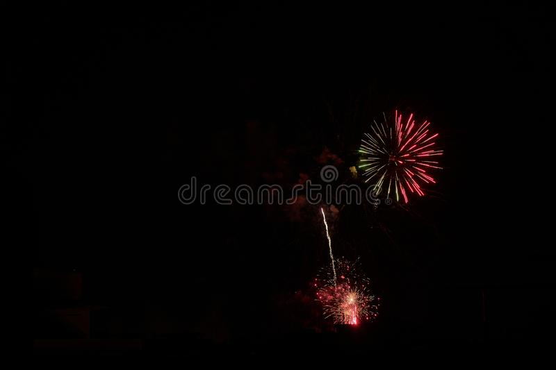 Some fireworks on a black background. They show the appearance of particles used for graphical resources royalty free stock image