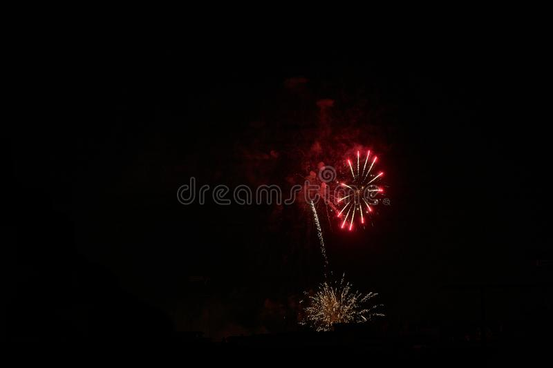Some fireworks on a black background. They show the appearance of particles used for graphical resources royalty free stock images