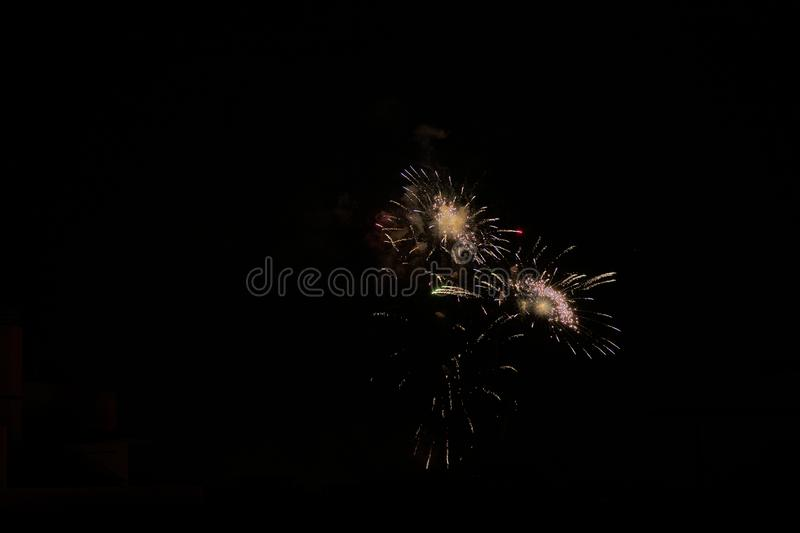 Some fireworks on a black background. They show the appearance of particles used for graphical resources stock images