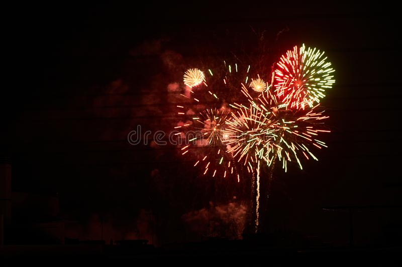 Some fireworks on a black background. They show the appearance of particles used for graphical resources royalty free stock photography