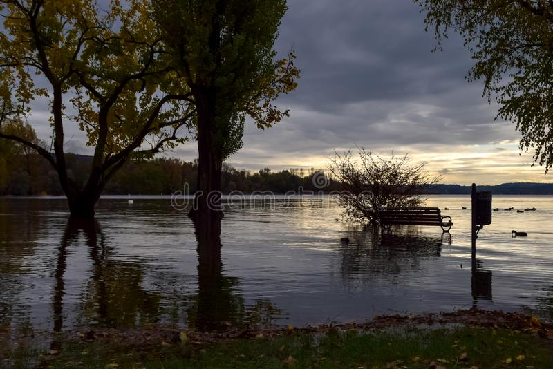 Lake flooding. Some foreshortenings portrayed after the flood of Lake Maggiore stock images