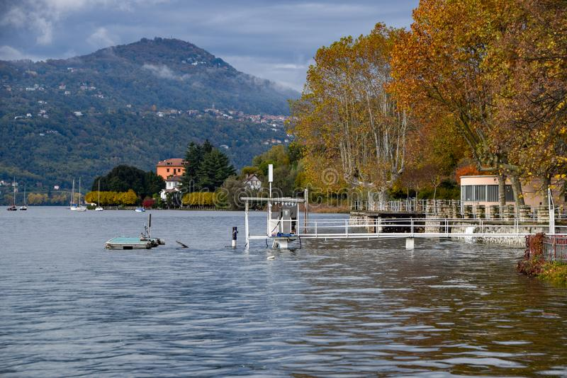 Lake flooding. Some foreshortenings portrayed after the flood of Lake Maggiore stock photos