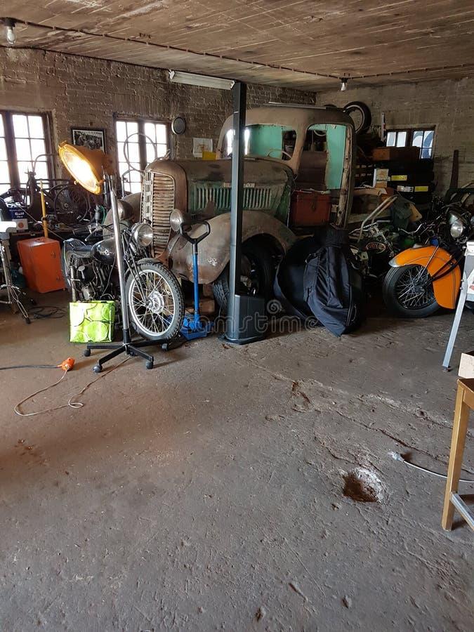 Some garage somewhere in Finland stock photo