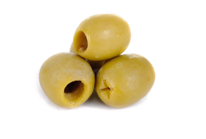 Download Some Green Pitted Olives Isolated On The White Stock Image - Image: 19203317