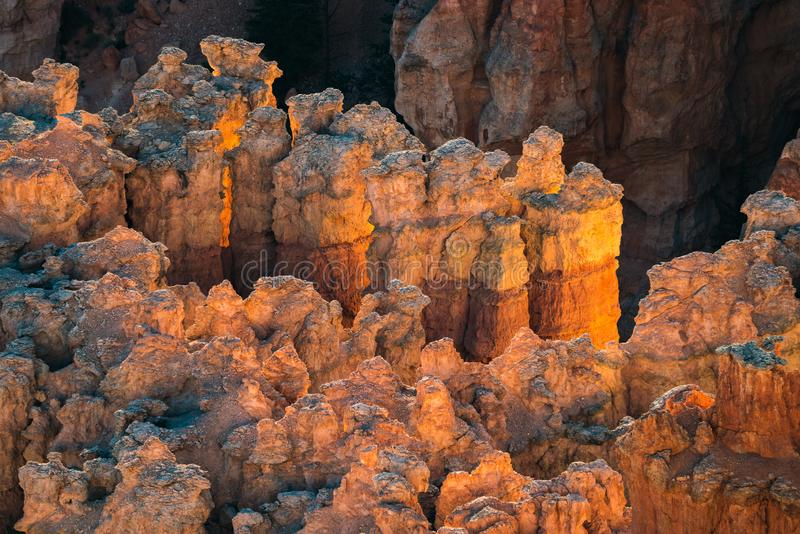 Some hoodoos in morning sun. At Bryce Canyon National Park stock photography