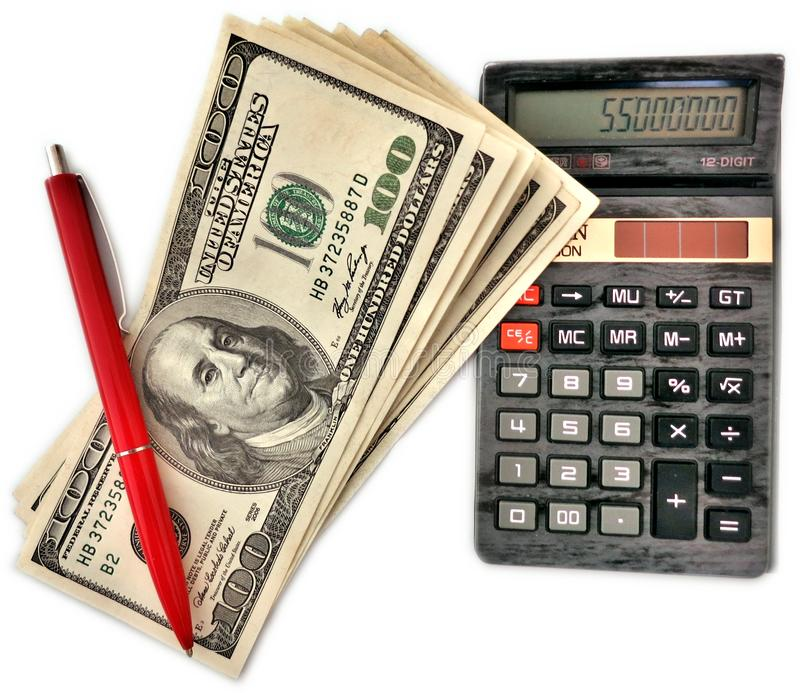 Some hundreds of dollars. Near the calculator and red pen royalty free stock photo