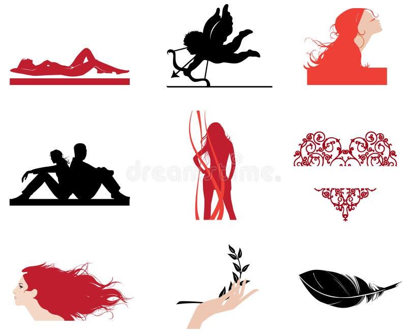 Some ideas for fashion logos. stock illustration