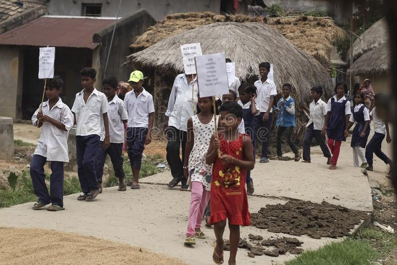 Some Indian village school students on a protest stock photo