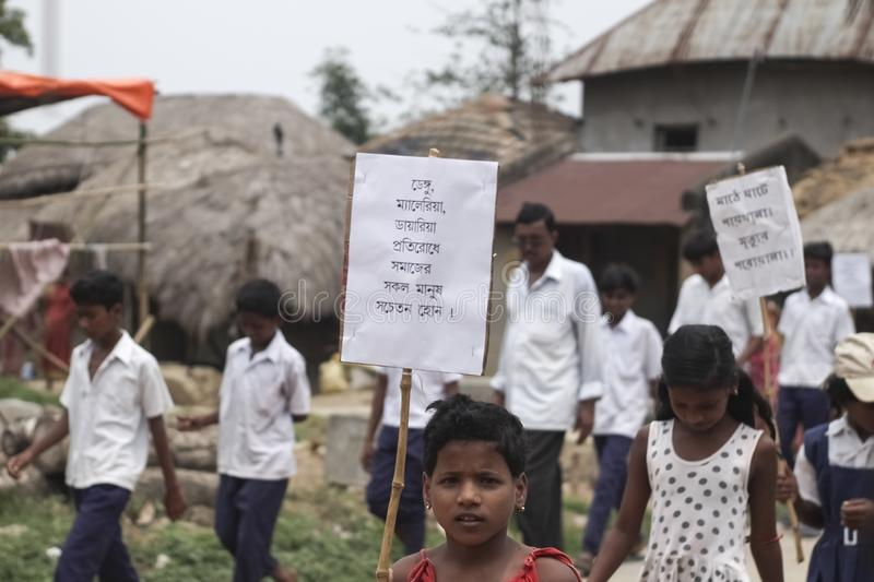 Some Indian village school students on a protest stock photos