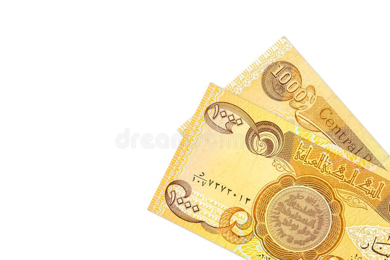 Some 1000 iraqi dinar bank notes obverse. Specimen with copy space royalty free stock photos