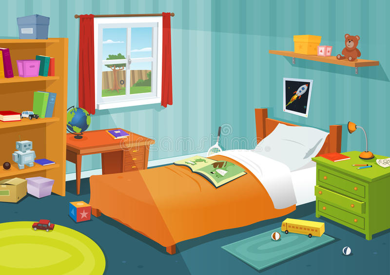 Some Kid Bedroom. Illustration of a cartoon children bedroom with boy or girl lifestyle elements, toys, bed, books, desk, bookshelf, teddy bear