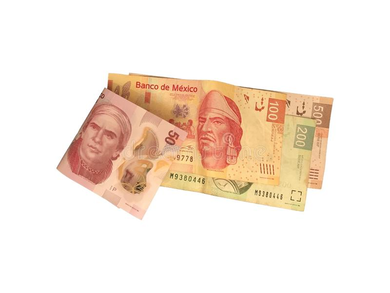 Some mexican peso 50 100 200 and 500 bills isolated on white background. A bunch of 50 100 200 and 500 mexican peso bills isolated on white background royalty free stock photo