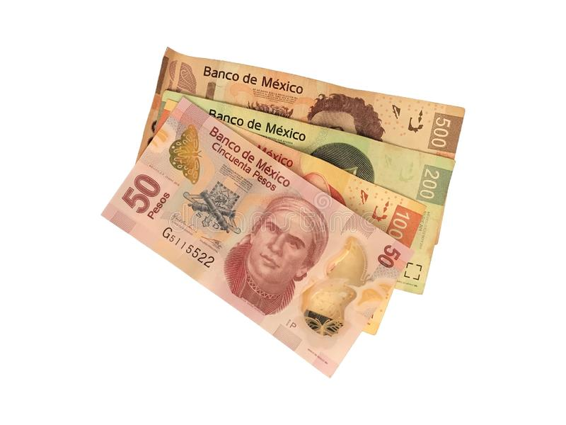 Some mexican peso 50 100 200 and 500 bills isolated on white background. A bunch of 50 100 200 and 500 mexican peso bills isolated on white background royalty free stock photography