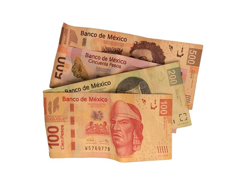 Some mexican peso 50 100 200 and 500 bills isolated on white background. A bunch of 50 100 200 and 500 mexican peso bills isolated on white background stock photos