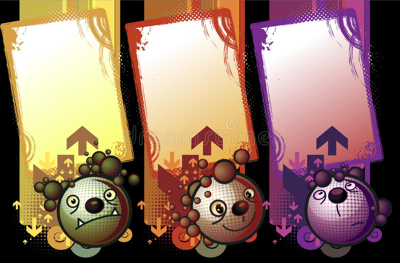 Some monsters banners in black background vector illustration