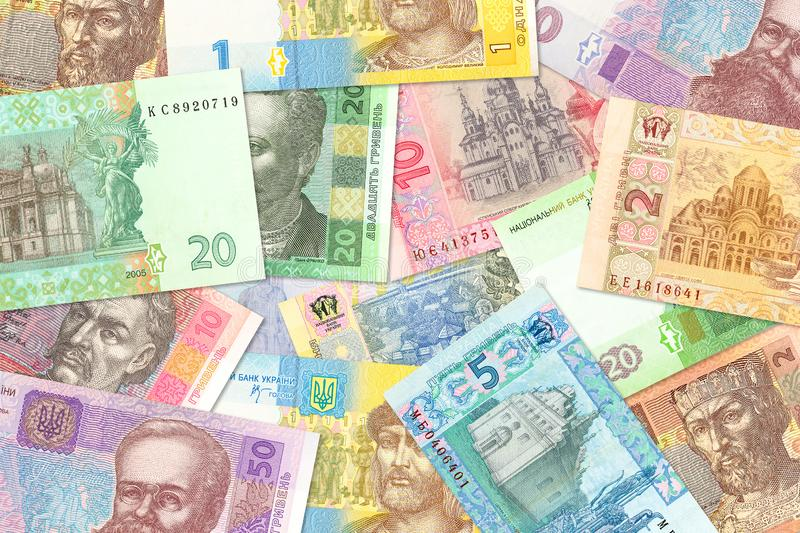 Some ukrainian hryvnia banknotes mixed indicating growing economics with copyspace. Some new ukrainian hryvnia banknotes mixed indicating growing economics with royalty free stock photos