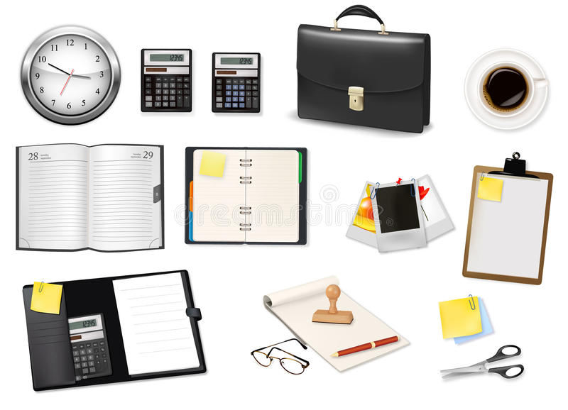 Download Some office supplies. stock vector. Image of desk, choice - 16455109
