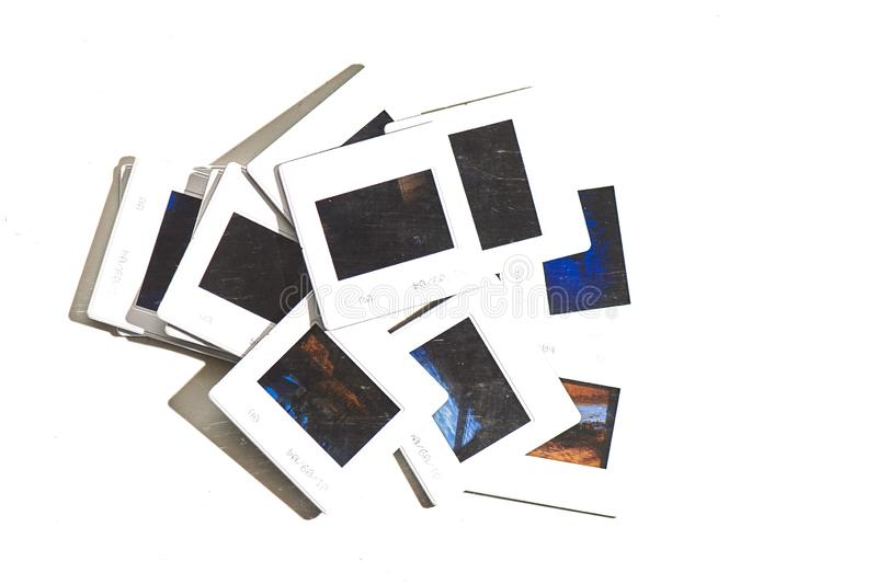 Some old color slides on a white background stock photography