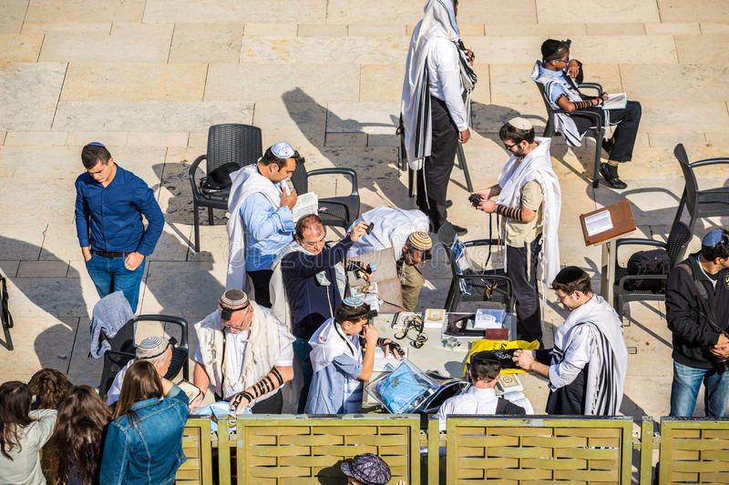 Some orthodox Jews wearing phylacteries stock image